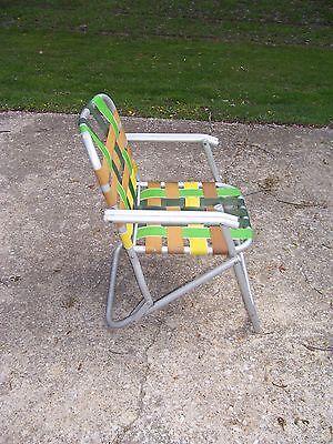 ... Vintage Lawnlite Aluminum Folding Webbed Lawn Chair Beach Pool Chair  Retro