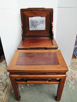 Antique 19th Century Chinese Blackwood and Marble Chair 3