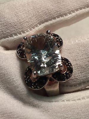 Vintage Genuine Clear Quartz Smoky Topaz 925 Sterling Silver Size 8 Ring 4
