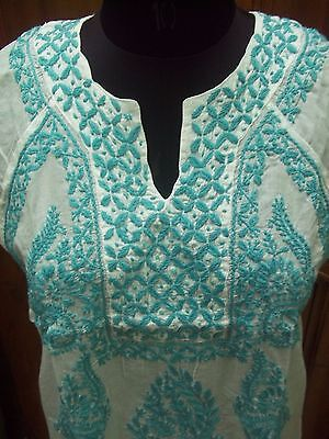 100%cotton Top Blouse Kurta Kurti L 42 Sleeveless Tunic Ethnic Chikan Embroidery