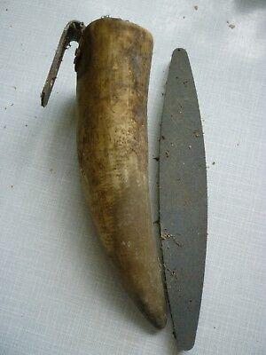 alter Köcher aus Horn Behälter mit Wetzstein für Sense Holz - ca. 30 cm 3