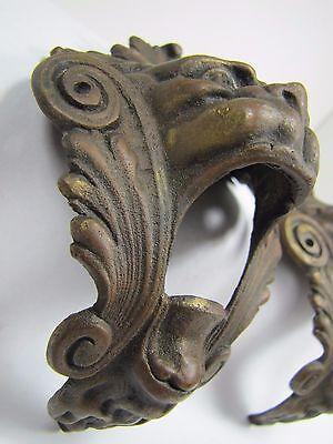 Antique Pair Bronze Monster Beast Lion Head Decorative Architectural Hardware 2 9
