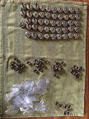 Vintage MCM Round Button Silver Drawer Pulls Retro Handles - 12 3