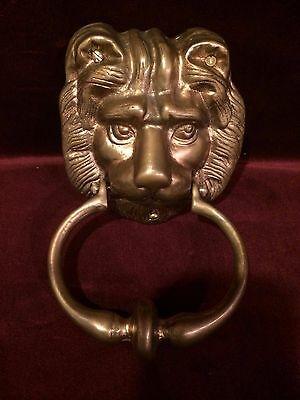 Vintage Brass DOOR KNOCKER Lion's Head 2