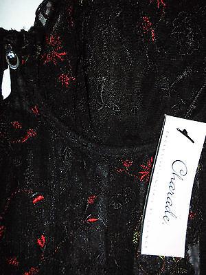 Korsage 70 C aufwendige Blumenstrickerei,geformte Körbchen, Farbe, schwarz 2