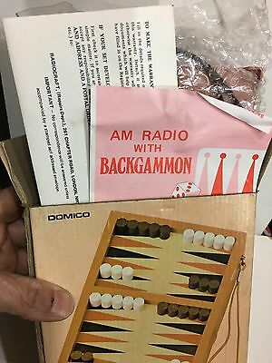 VINTAGE NOVELTY RADIO AM(MW)- BAND WITH BACKGAMMON GAME FROM 1970s NEW WITH BOX 3