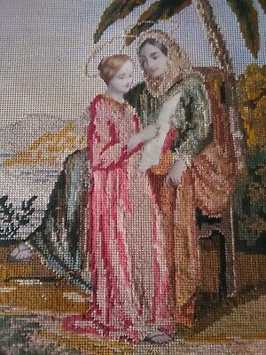 Antico Quadro 32,5x26 MEZZO PUNTO cornice in legno vintage motivo religioso 3
