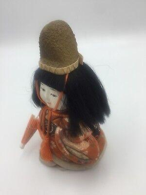Antique Vtg Japanese Gofun Stocky Hina Doll Silk Kimono Glass Eyes Festival Hat 8
