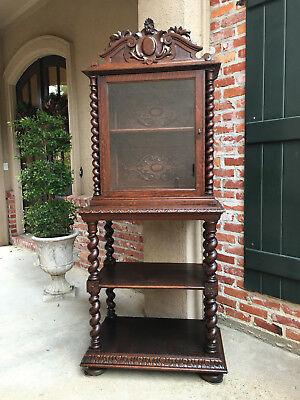 Antique French Carved Oak BARLEY TWIST Display Cabinet Shelf Bookcase Buffet