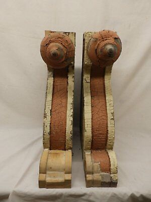 Antique Pair Large Wooden Corbels Shabby Cottage Chic Vtg Drop Finials 452-17P