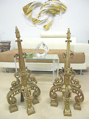 Tall Antique Hollywood Regency Andirons Nouveau Draper Era Old Bronze Florentine 7