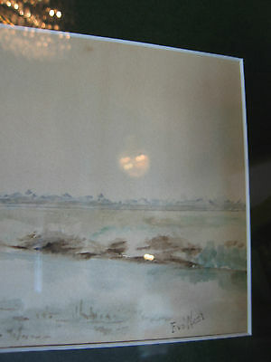 Vintage Antique Early to Mid 20th Cent. Eva West Signed Watercolor of Landscape 5