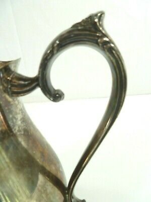 """Vintage Leonard Silver Plate Footed Water Pitcher with Ice Lip 8 1/2"""" Patina 6"""