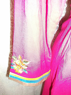 Pink Vintage Indian Tunic top.calf length,side splits,embroidered yellow detail 3