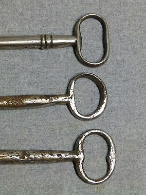 3 Antique Cast Iron Nickel Skeleton Jail House Door Gate Keys Key Vintage Old 3