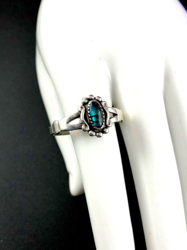 Striking Signed Wheeler Manufacturing Sterling Silver Paua Shell Accent Ring 3