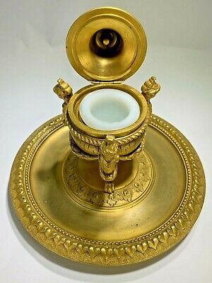 Antique Louis XV Style French Gilt Bronze Inkwell 1880 by Delarue Paris 3