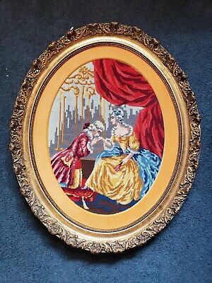 Antique Victorian Oval Wood Gold Gilt very ornate Frame EMBROIDERED Man n woman 12