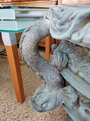 Huge Vintage Bronze Urns Adorned W Dolphins & Angels From Coral Gables Mansion P 7