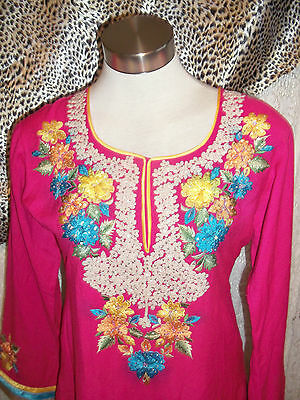 Pink Vintage Indian Tunic top.calf length,side splits,embroidered yellow detail 2