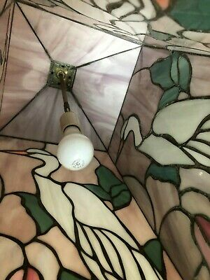 "VTG Leaded Stained Slag Iridescent Glass Crane Bird Design Ceiling Lamp 28"" 7"