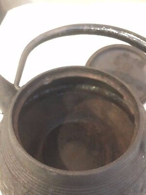 Antique-Signed-Vintage-Old-Japanese-Cast-Iron-Tetsubin-Teapot-Tea-Kettle F/S