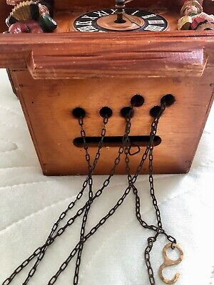 Vintage Hand Made Wooden Regula Musical Dancers Wheel Cuckoo Clock Germany 6