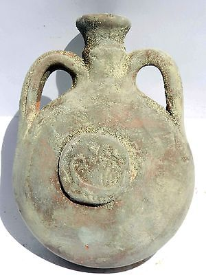 Ancient Terracotta Herodian Holy Land Roman pottery Flask Jug Clay Ancient Coin 2