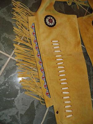 Neu!Leder,Hose,Fransen,Chaps,Indianer,Western,Cowboy,Biker,Gay,Top zu Lederjacke