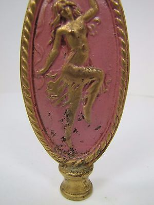 Antique Art Nouveau Finial partially nude dancing lady nymph brass gold pink 8