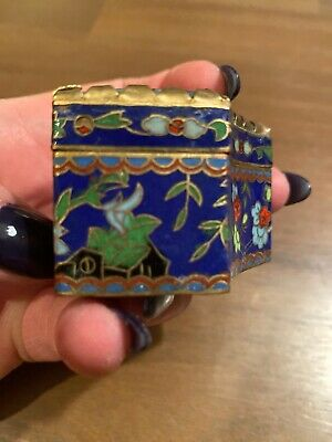 Chinese Cloisonne Pill Box With Hand Painted Stone Lid-2 1/2 Inches At Widest 6