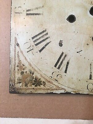 Antique Hand Painted Flower Decorated Iron Grandfather Clock Dial C. 1800's 6