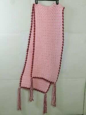 """Hand Knitted Acrylic Afghan Baby Throw Blanket Fringe Pink 16.5"""" x 87"""" 3"""
