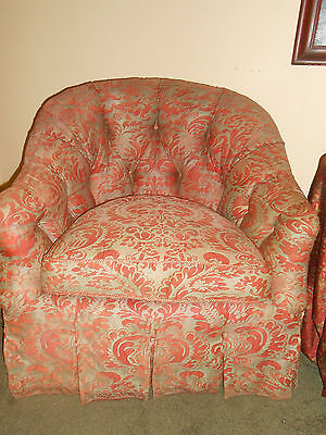 STUNNING Pair Vintage Fortuny Chairs Upholstered Corone Fabric Down Fill Tufted 2