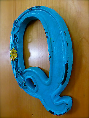 "BLUE CAST IRON WALL LETTER ""Q"" 6.5"" TALL rustic vintage decor sign child nursery 3"