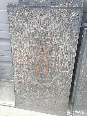 Antique Cast-Iron Fireback Set With Sides Sunset Design 3