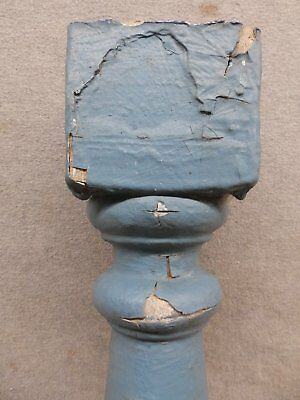 1 Antique Turned Wood Spindle Porch Baluster Thick Old Vtg Architectural 527-17R 2