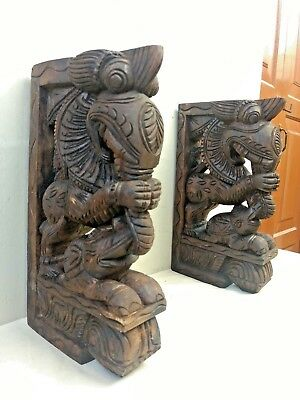 Wall Wooden Bracket Corbel Pair Temple Yalli Dragon Statue Sculpture Home Decor 6