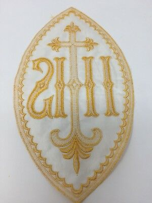 Vintage IHS Cross Red on Light Yellow Satin Emblems Embroidered 2 Pcs.