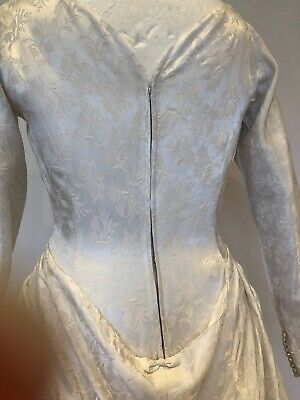 Pretty Vintage 1950s Bridal Wedding Dress with Bustle Off White Damask 8 10 5