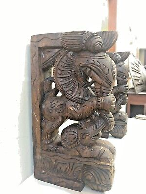 Wall Wooden Bracket Corbel Pair Temple Yalli Dragon Statue Sculpture Home Decor 3