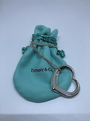 Authentic Tiffany&Co Elsa Peretti Open Heart Pendant Necklace 3