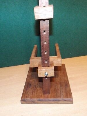 Clock movement test stand from reclaimed hardwood fits most lighter types 7