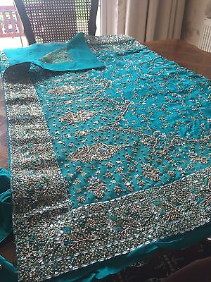 Indian Bridal Engagement Wedding Sari Blue Green Turquoise 3 Piece Dupatta Heavy 3