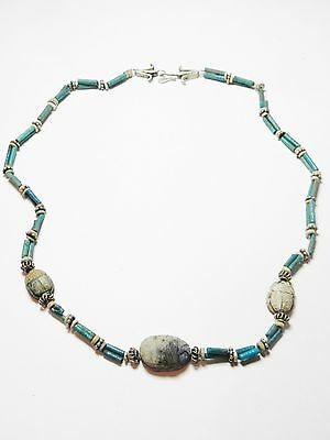 Zurqieh - 50W- Ancient Egypt. Necklace Of Faience Beads & Scarabs. 1400 B.c 3