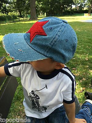 Sport jean brushed Star kids baseball sunhat cap RED STAR 2