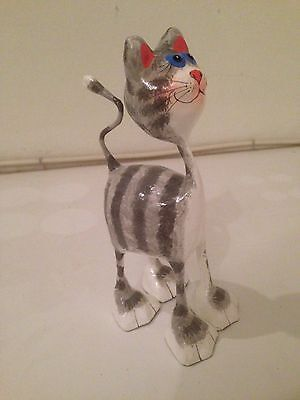 Paper Mache Cat Animal Figure Handmade Hand Painted Collectible Kids