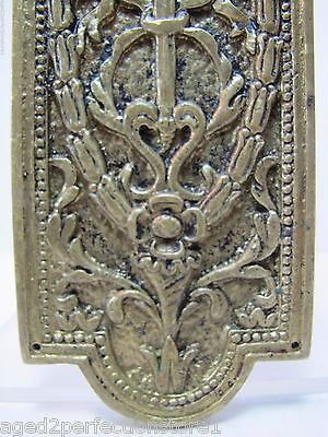 Antique Door Push Plate ornate flame torch ribbons bows floral old brass bronze 5