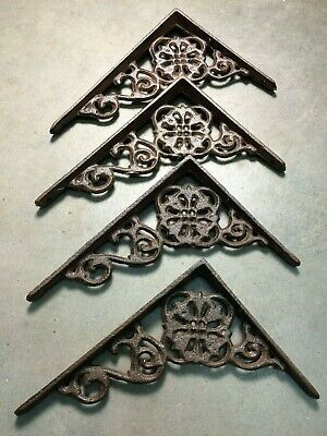 "SET of 4 ANTIQUE BRONZE VICTORIAN FLORAL STYLE cast iron brace bracket corbel 6"" 4"