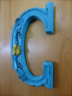 "BLUE CAST IRON WALL LETTER ""C"" 6.5"" TALL rustic vintage decor sign child nursery"